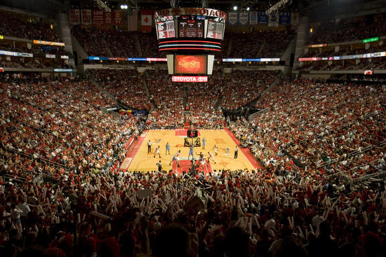 Basketball game at Toyota Center with big crowd