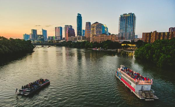 Sunset Skyline with tour boats