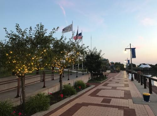 Brick pathway outside Aloft hotel in Inner Harbor Syracuse, NY