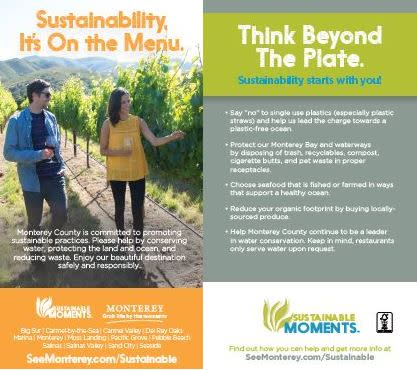 Sustainability, It's On the Menu. Sustainable Moments Menu Insert.