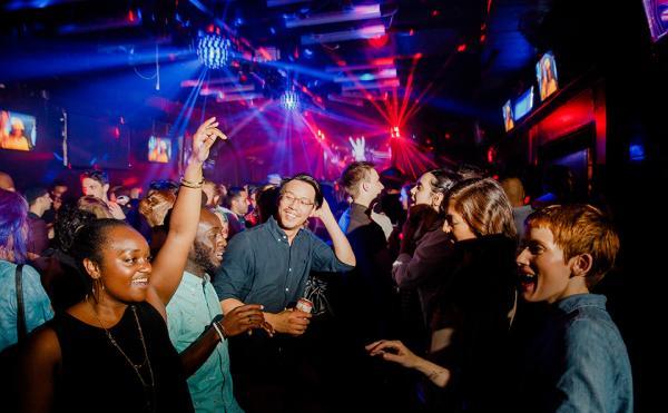 Crowd dancing at Barbarella