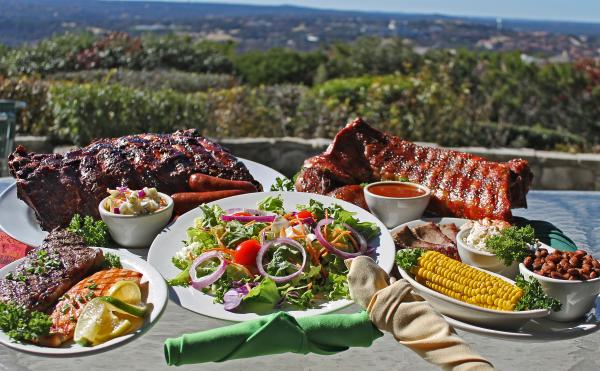 Barbecue on table at County Line on the Hill