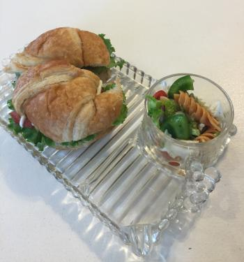 Turkey croissant and pasta salad at The Porch.