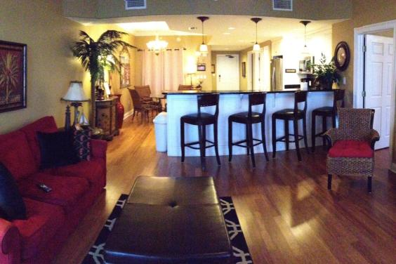 Treasure Island 1210 living area with bamboo flooring