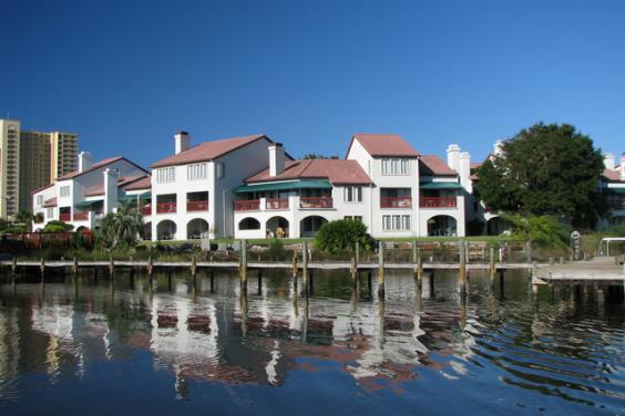 Grand Lagoon Condo with boat dock. Walk to beach.