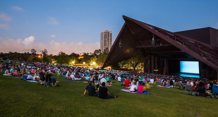 Houston's Miller Outdoor Theatre evening crowd on lawn
