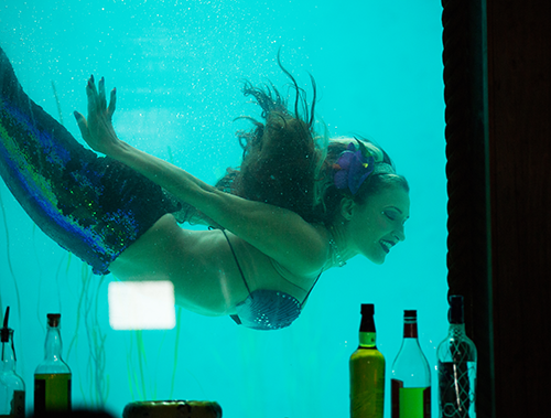 "The Wreck Bar's unique mermaid-inspired cocktail bar offers a truly ""Under the Sea"" experience. Also check out their AQUAMEN Underwater Burlesque Show."