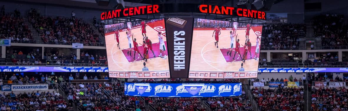 PIAA Basketball at Giant Center in Hershey Scoreboard Shot