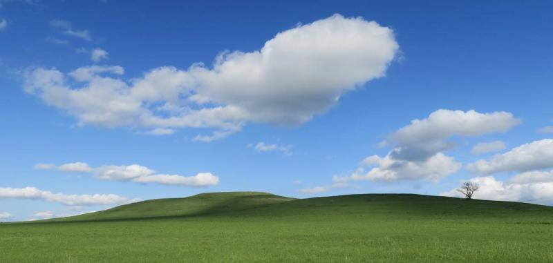 The Mount Mitchell Hill covered in bright green grass against a blue sky with puffy clouds