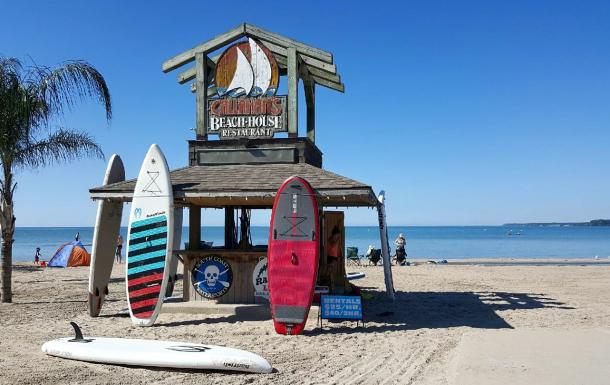 paddle boards on Port Dover Beach