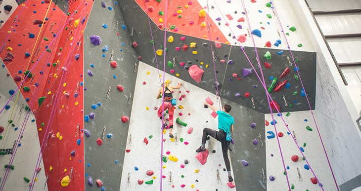 Climbers on the wall at Bliss Climbing Complete