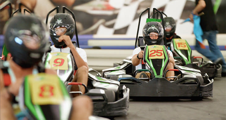 On the go-kart track at Xtreme Racing