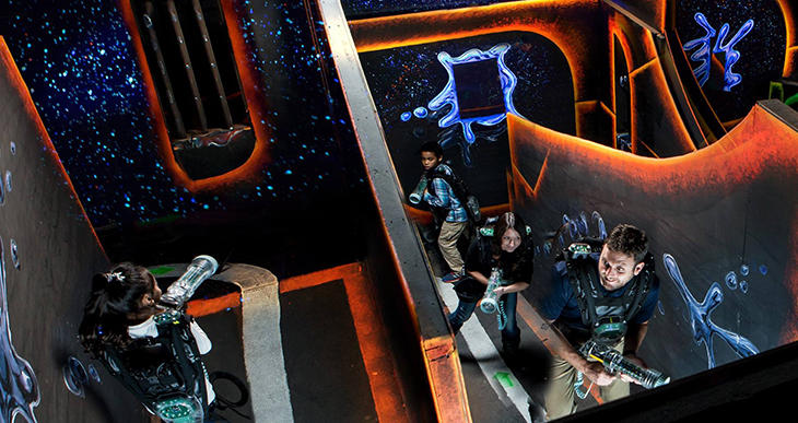 Players search for opponents inside Laser Quest