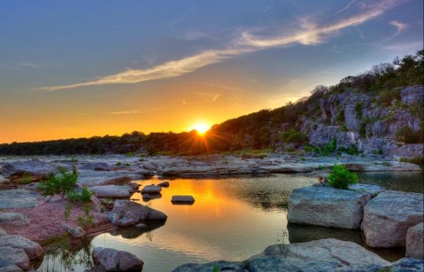 Pedernales Falls State Park at sunset