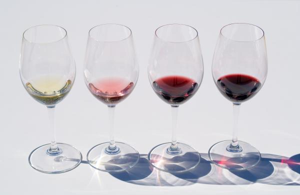 Glasses of White, Rose, Red wines from Napa Valley