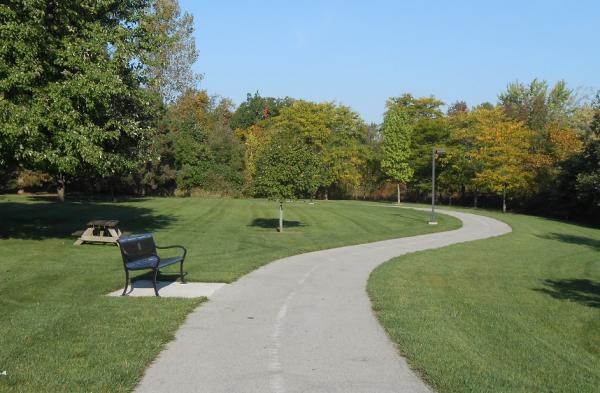 The curving walking trail at IPFW of the Tree Walk