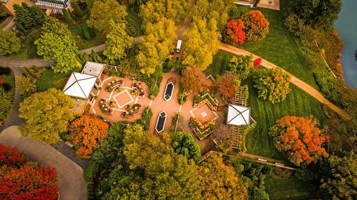 Aerial view of Chicago Botanic Garden in the fall