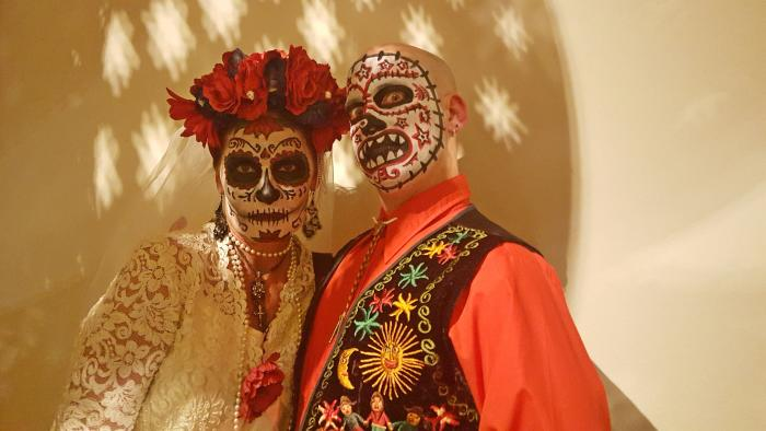 Costumed couple during Day of the Dead Xicago in Chicago