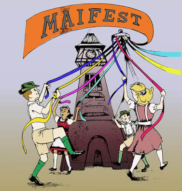 drawing of children around a maypole with colored ribbon