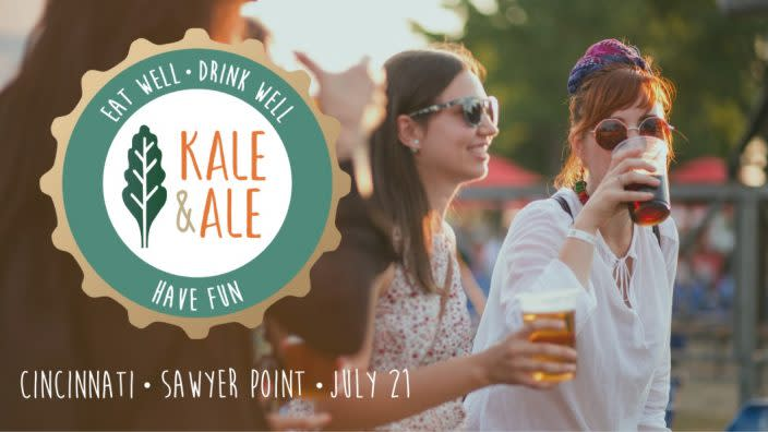 Kale & Ale logo over a picture of young people drinking in the sunshine