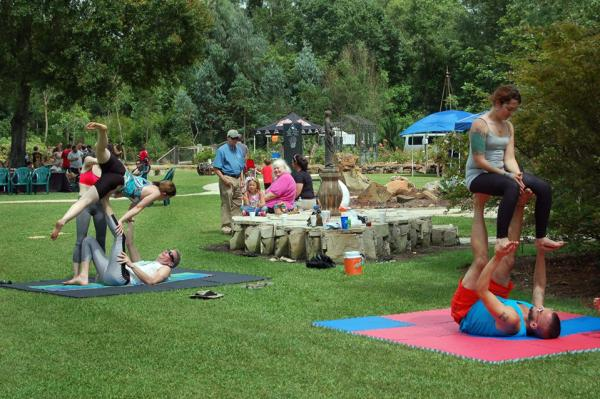 Acro Yoga at the Beaumont Maypole Festival