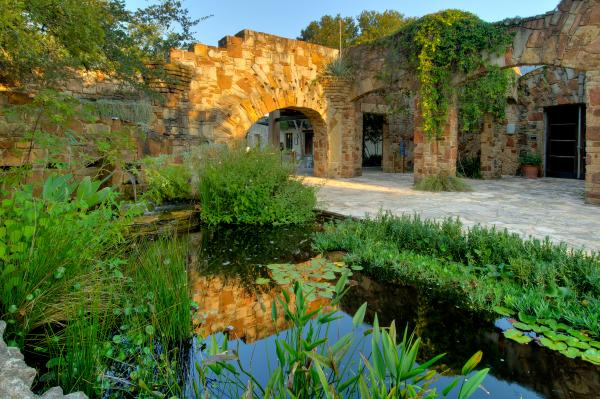 Lady Bird Johnson Wildflower Center entry Arch and Pond