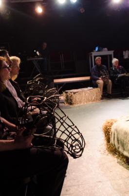 The cast of Equus brings horses to life through the masks seen here