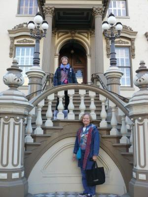 Janet (top) and Carol pose at the front entrance of the Leland Stanford Mansion.