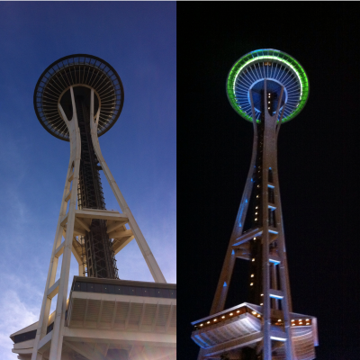 Up in Cloud 9 on top of the Space Needle Blog Night and Day