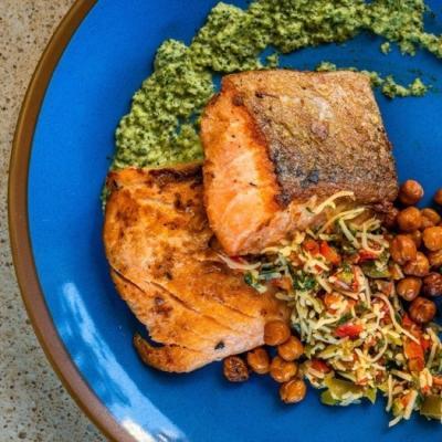 Salmon plate served
