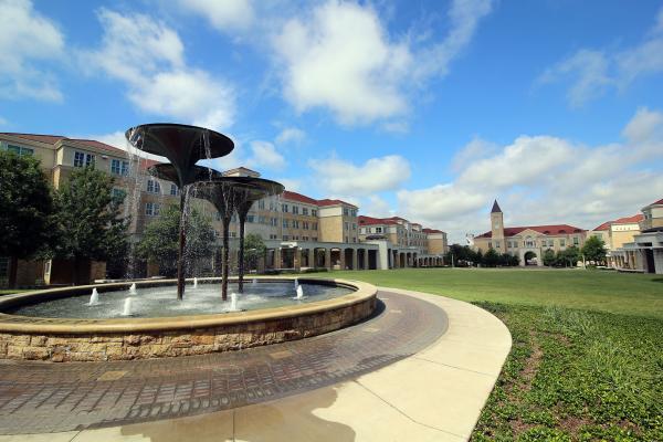 TCU campus fountain