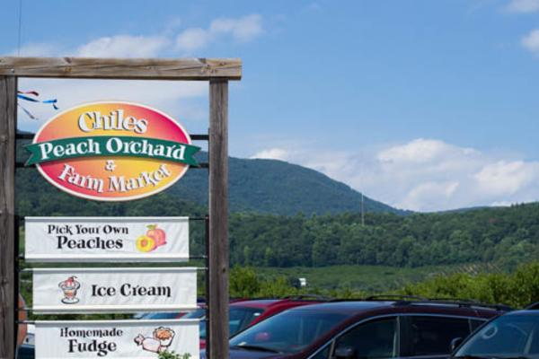 Chiles Peach Orchard sign