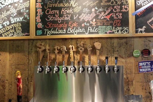 Beer taps at Strange Craft Beer Company.