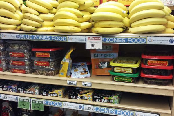 Blue Zones friendly check out aisle at Central Market - no candy!