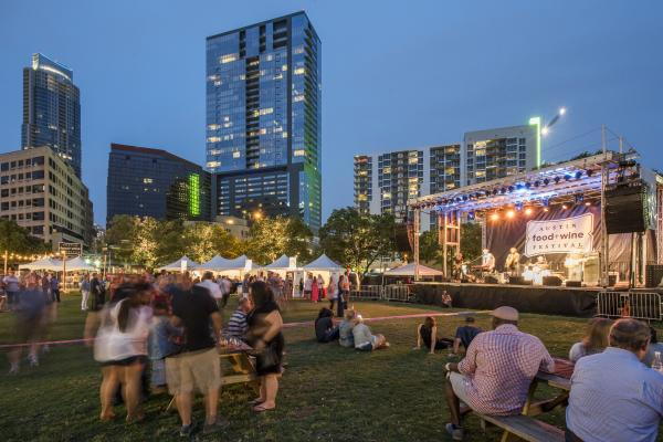 Austin skyline at Taste of Texas at Austin Food and Wine Festival.