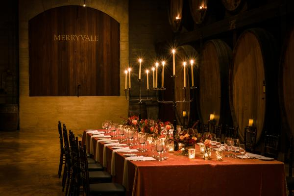 Dinner in the Barrell Room at Merryvale Vineyards