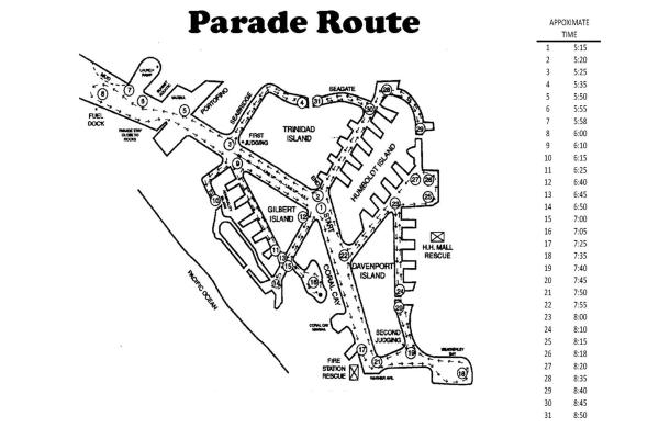 Huntington Harbour Boat Parade route