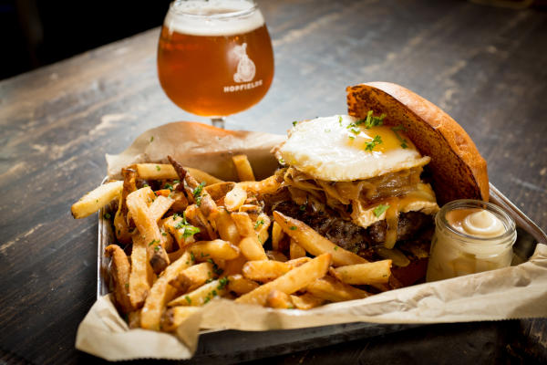 Burger fries and beer from Hopfields