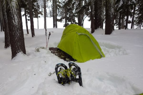 Snow Camping Tent Site by Joey Jewell