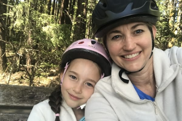 Cycling Mom & Child by Taj Morgan