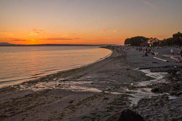 sunset at Golden Gardens Park with beach and water