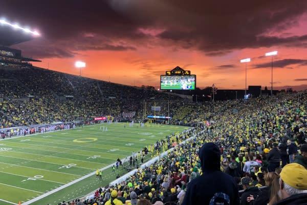 Autzen Stadium at Sunset by Peter Callero