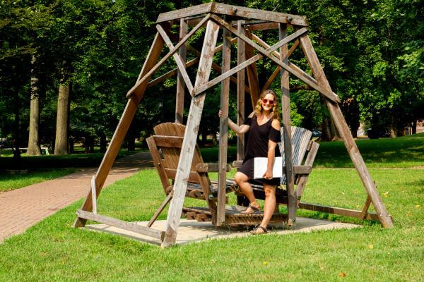 Ashley Hasty at the Lindenwood Swings