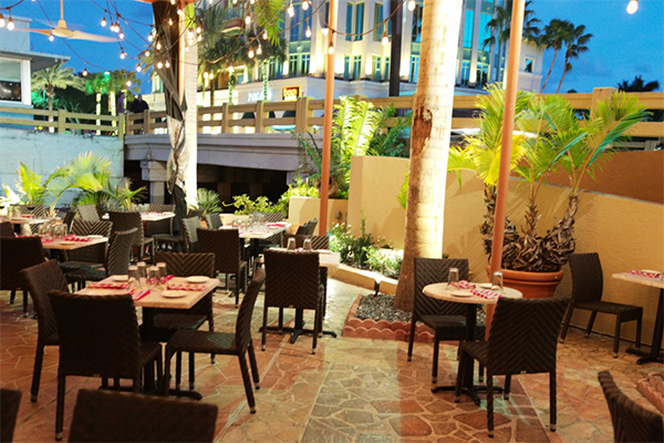 Outdoor patio seating at Luigi's Tuscan Grill in Fort Lauderdale