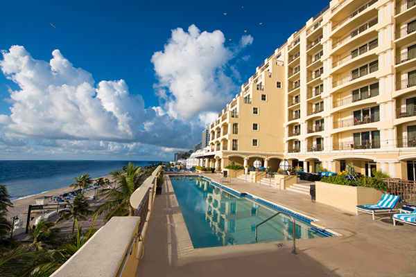 View of pool and exterior of the Atlantic Hotel & Spa on Fort Lauderdale Beach