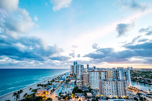 Aerial view of hotels along Fort Lauderdale Beach