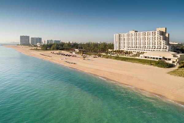 Aerial view Fort Lauderdale Marriott Harbor Beach & Spa on the beach