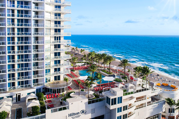 Exterior of the Hilton Fort Lauderdale Beach Resort with ocean view