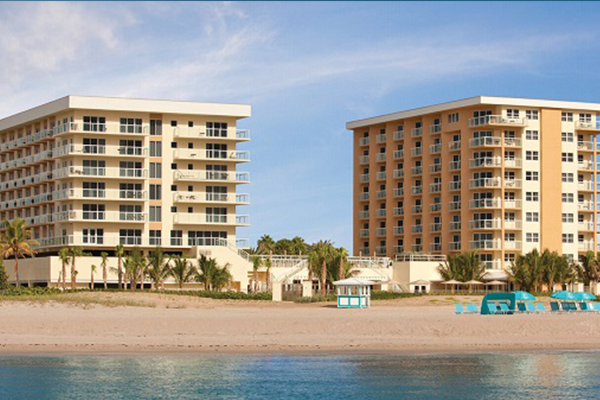 Beach facing exterior view of the Fort Lauderdale Marriott Pompano Beach Resort & Spa