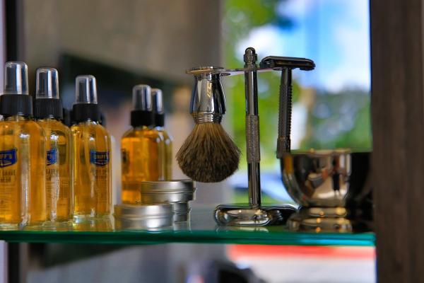Lathering tools and oils on display at 18/8 Fine Men's Salon.